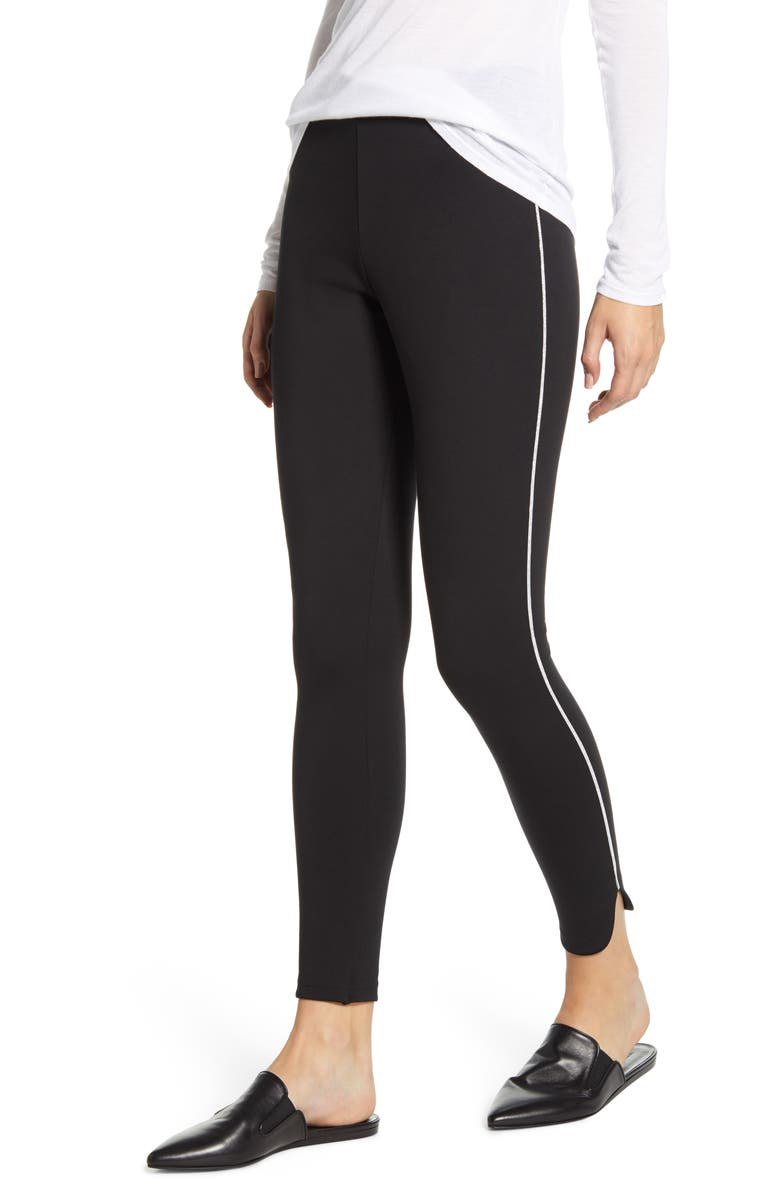 NORDSTROM Ponte Metallic Stripe Tuxedo Leggings, Main, color, BLACK