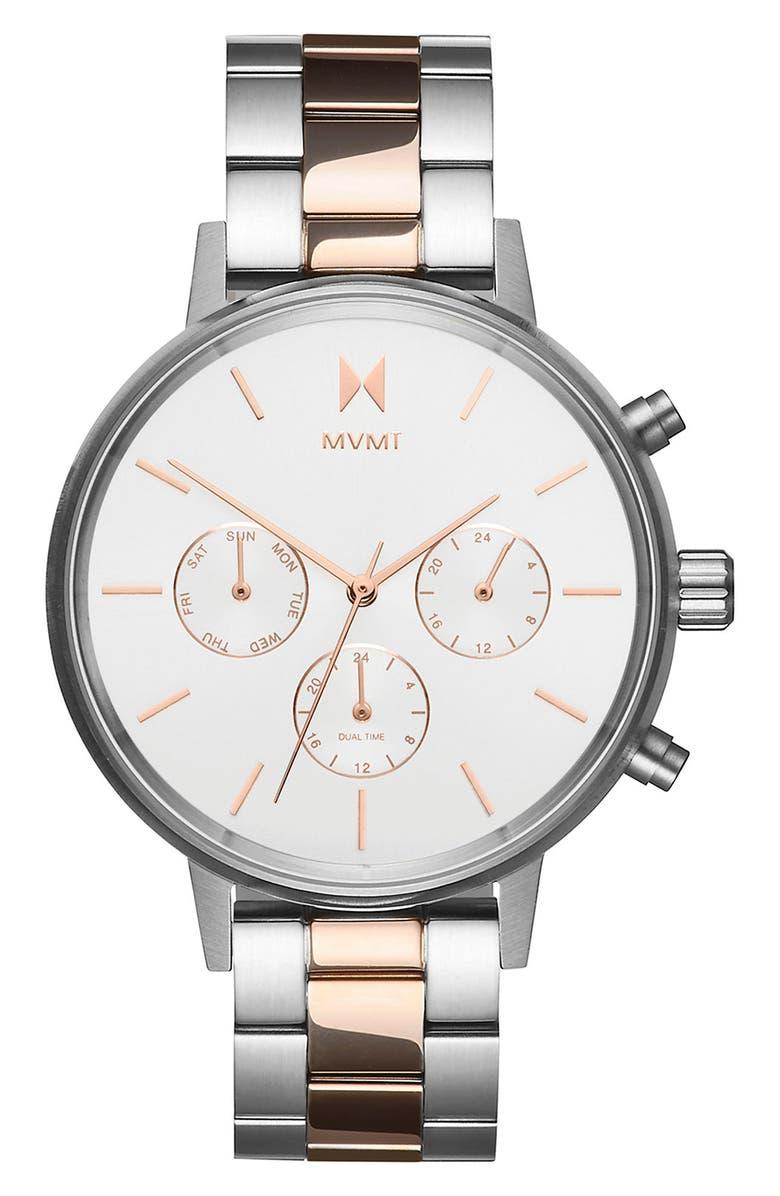 MVMT Nova Chronograph Bracelet Watch, 38mm, Main, color, SILVER/ WHITE/ SILVER