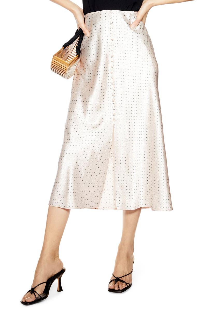 TOPSHOP Polka Dot Midi Skirt, Main, color, NUDE