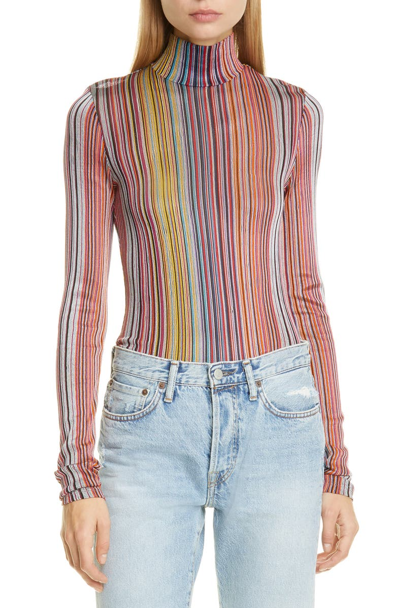 BEAUFILLE Stripe Turtleneck, Main, color, PINK STRIPE