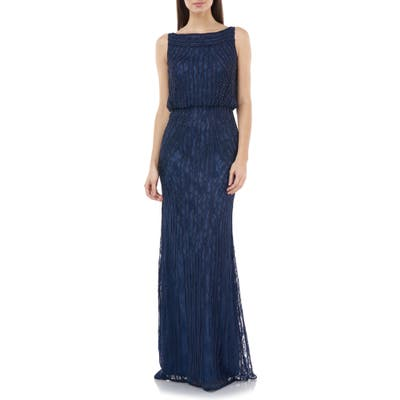 Js Collections Embellished Sleeveless Blouson Mermaid Gown, Blue