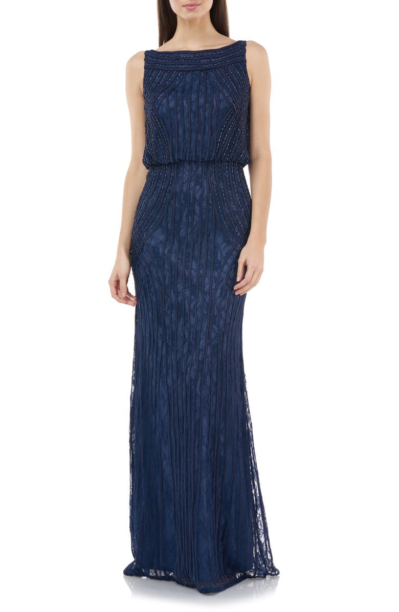 JS COLLECTIONS Embellished Sleeveless Blouson Mermaid Gown, Main, color, NAVY