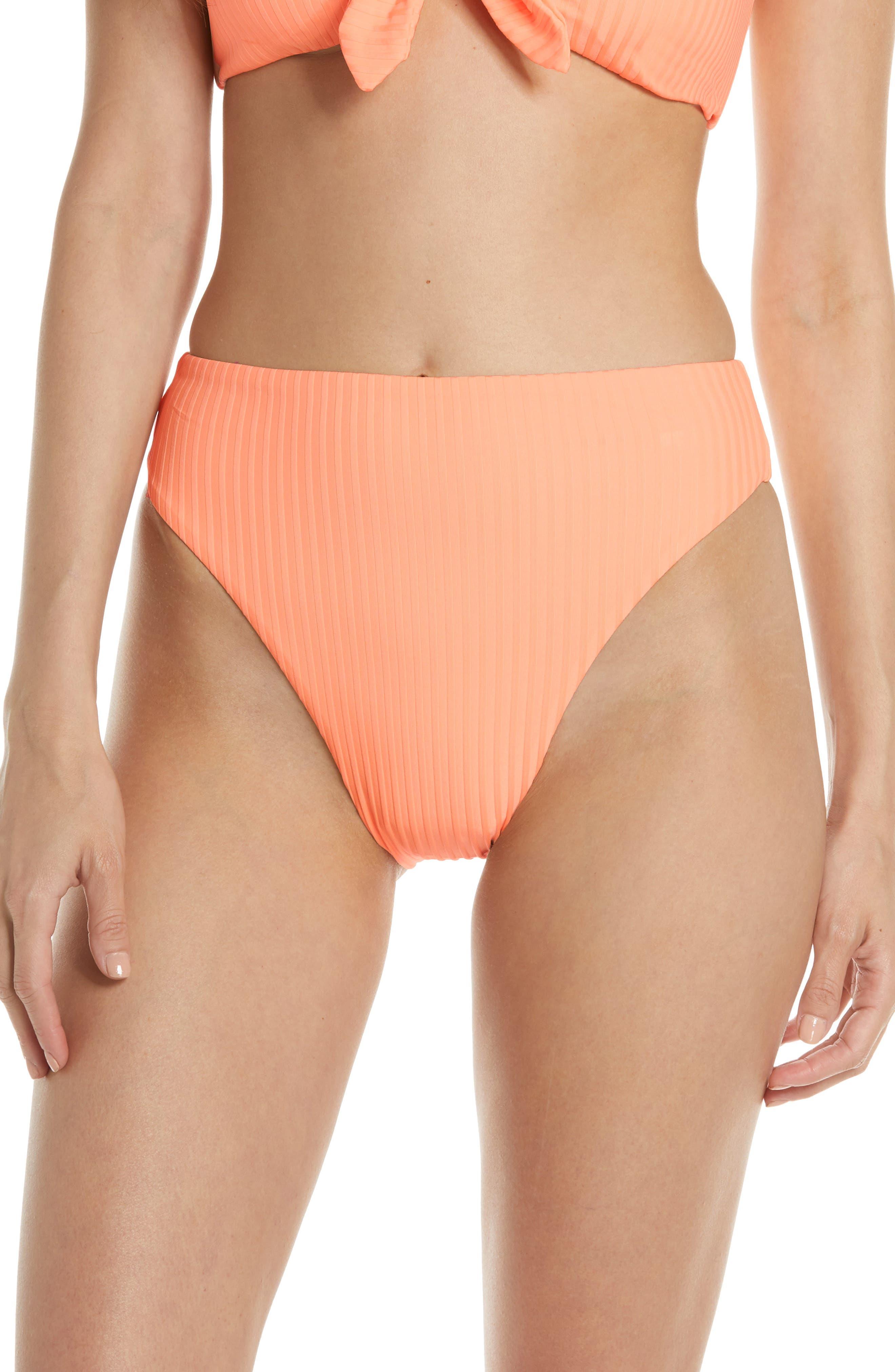 Dolce Vita High Waist High Leg Bikini Bottoms, Orange