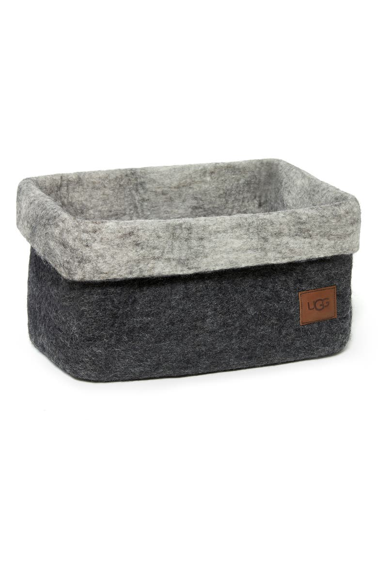 UGG<SUP>®</SUP> Jade Cove Felted Wool Basket, Main, color, CHARCOAL W/ SEAL