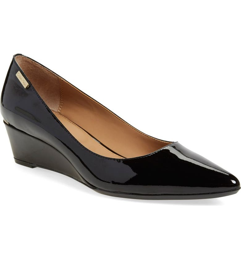 CALVIN KLEIN 'Germina' Pointy Toe Wedge, Main, color, BLACK PATENT LEATHER