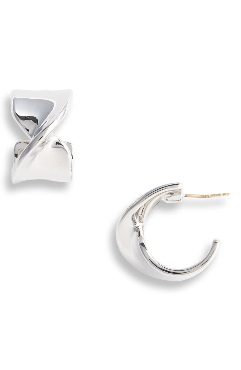 ST. JOHN COLLECTION Twist Metal Hoop Earrings, Main, color, RHODIUM