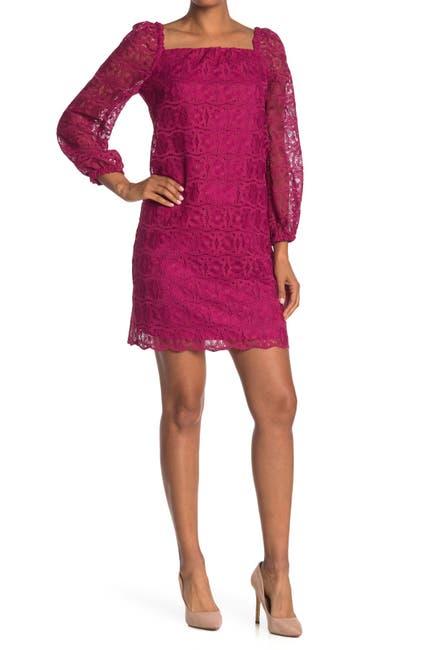 Image of Trina Turk Bottle Square Neck Lace Shift Dress