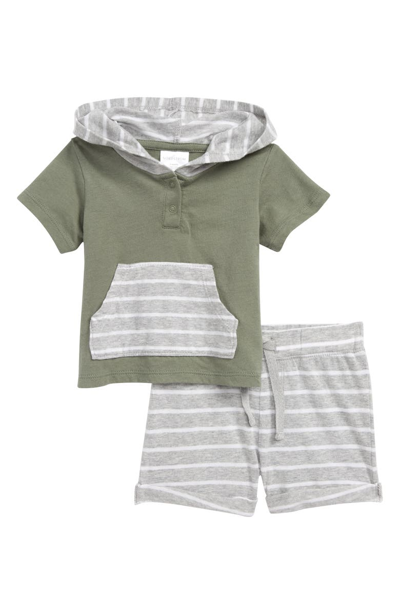 NORDSTROM BABY Play Time Hoodie & Shorts Set, Main, color, GREEN DUNE- GREY STRIPE