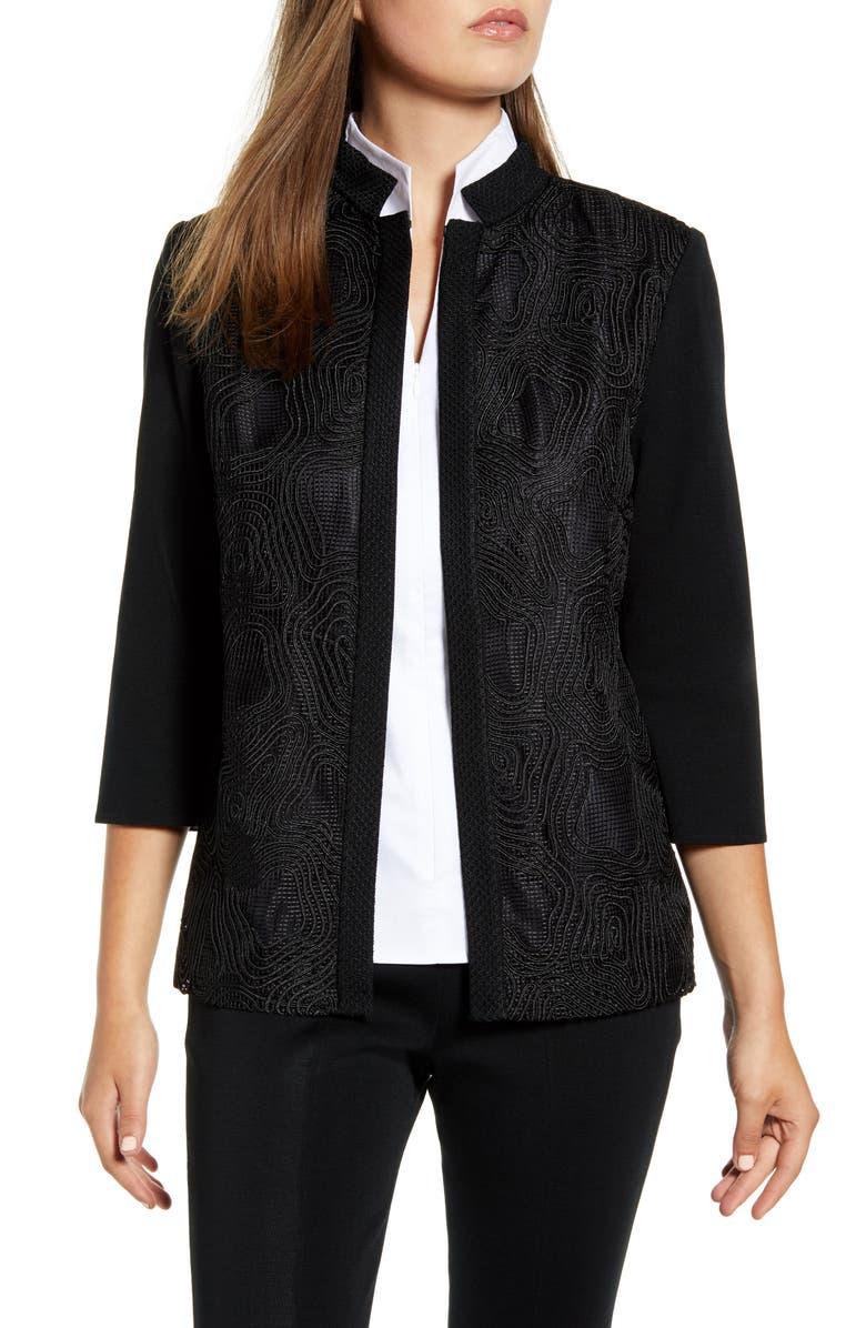 MING WANG Swirl Embroidery Jacket, Main, color, BLACK
