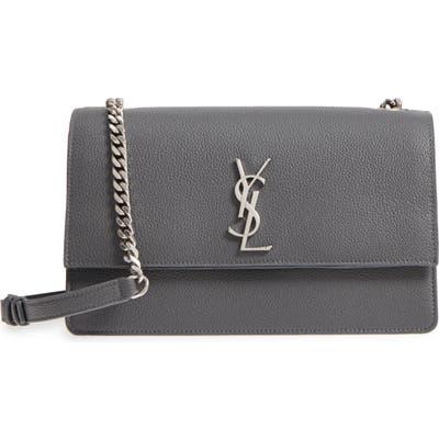Saint Laurent Medium Sunset Leather Bag - Black