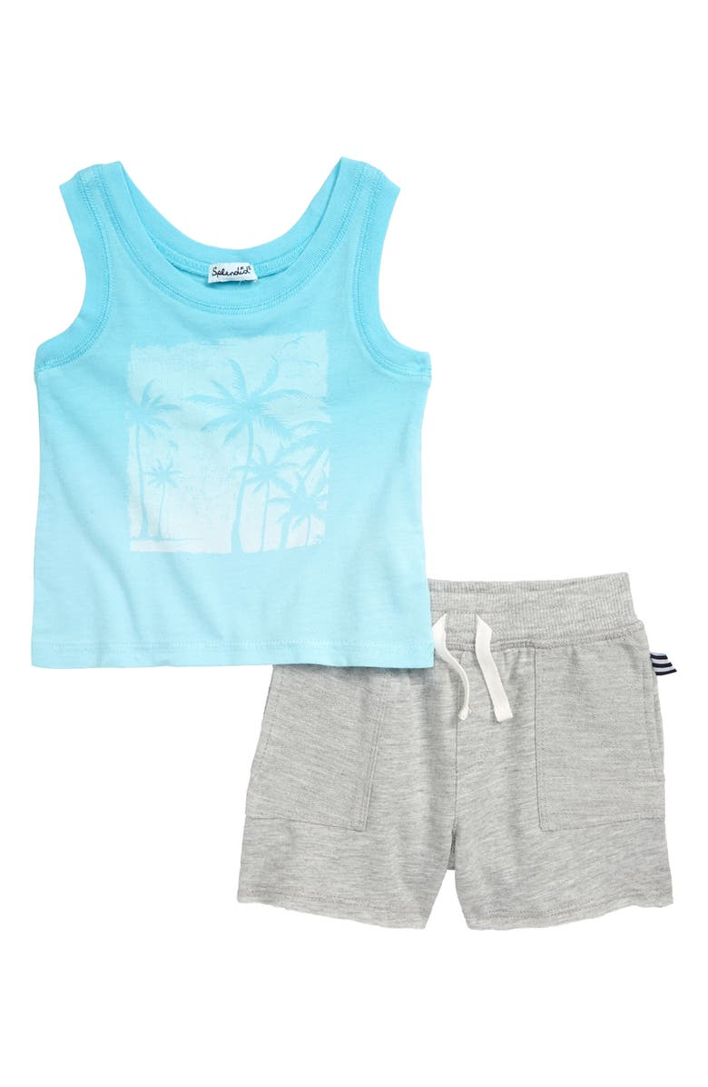 Splendid Dip Dye Palm Tree Tank Top Shorts Set Baby