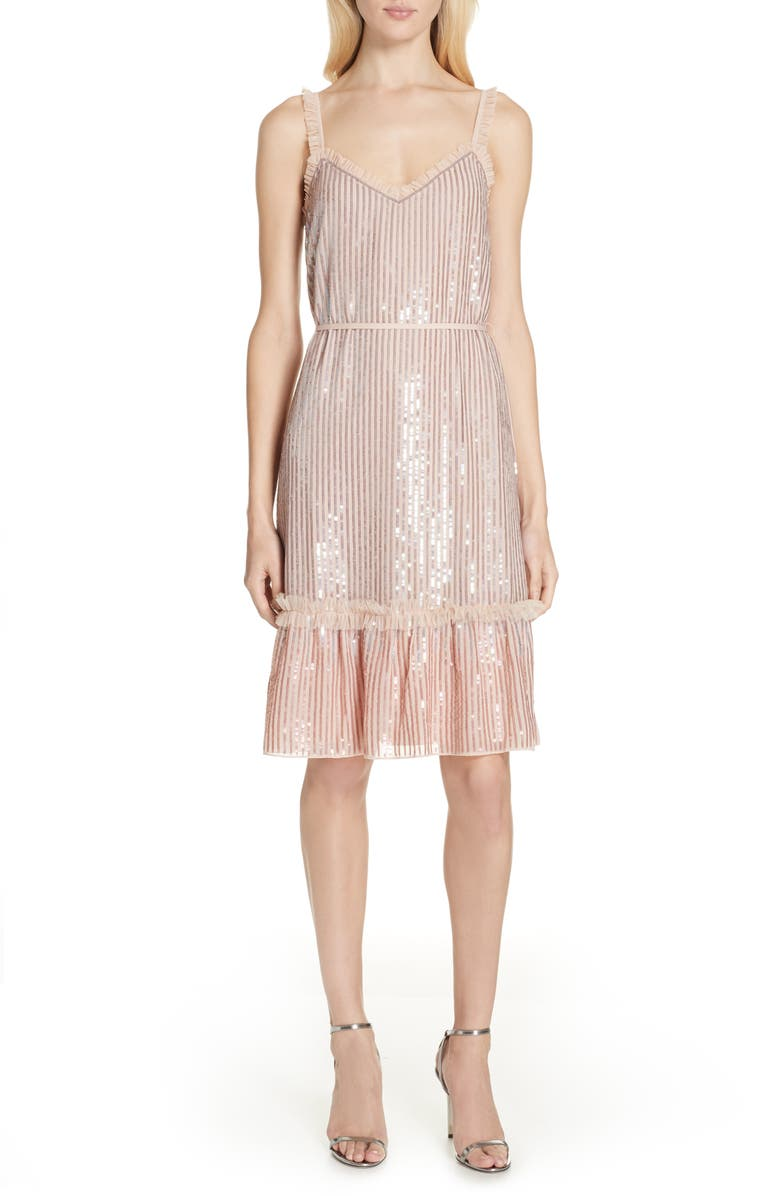 NEEDLE & THREAD Gloss Sequin Ruffle Dress, Main, color, 400