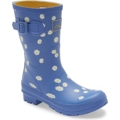 Joules Molly Floral Print Welly Waterproof Rain Boot, Blue