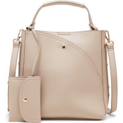 Sole Society Hingi Faux Leather Shoulder Bag - Beige