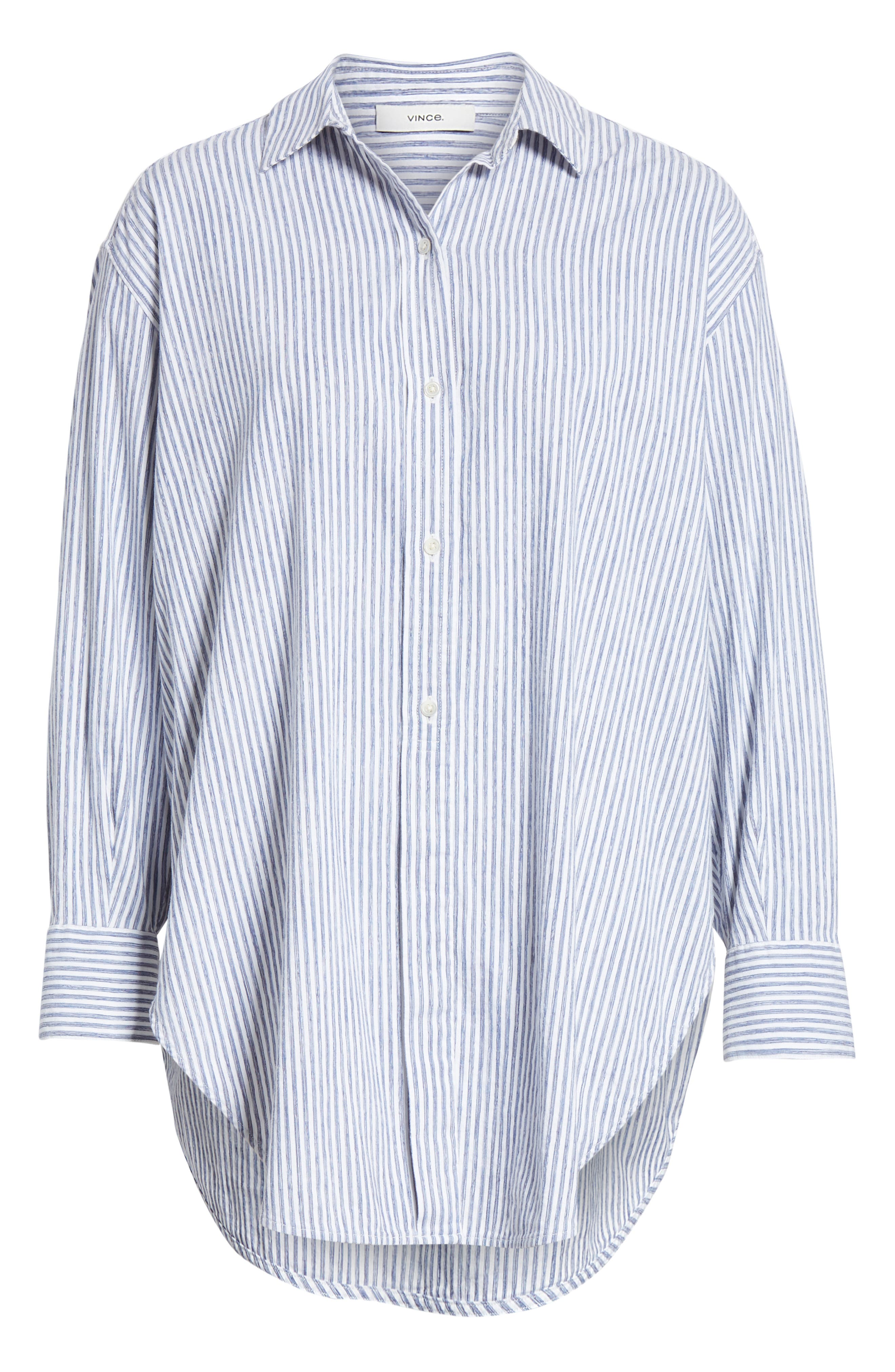 ,                             Stripe Oversize Cotton Blend Blouse,                             Alternate thumbnail 6, color,                             INDIGO