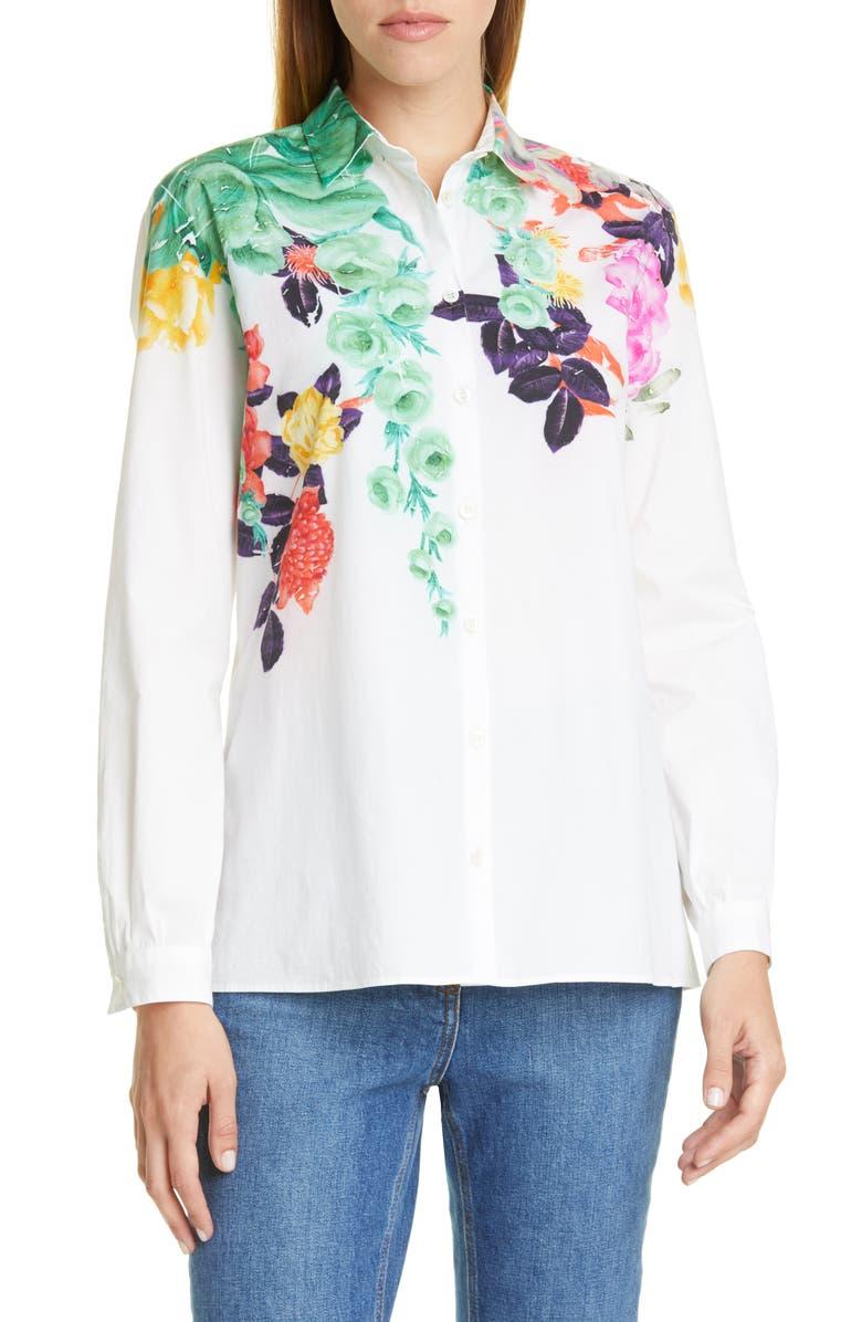 ETRO Pop Floral Print Shirt, Main, color, WHITE