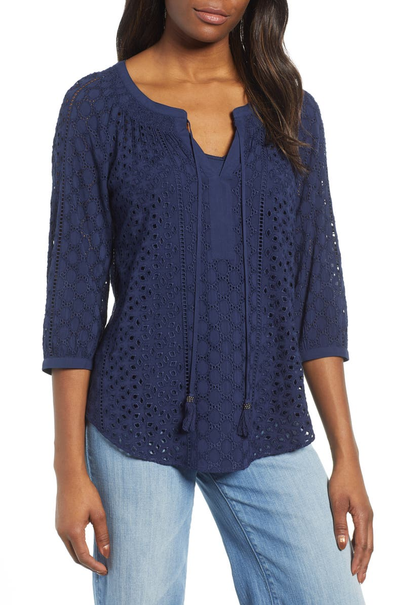 DANIEL RAINN Eyelet Tie Neck Blouse, Main, color, 403
