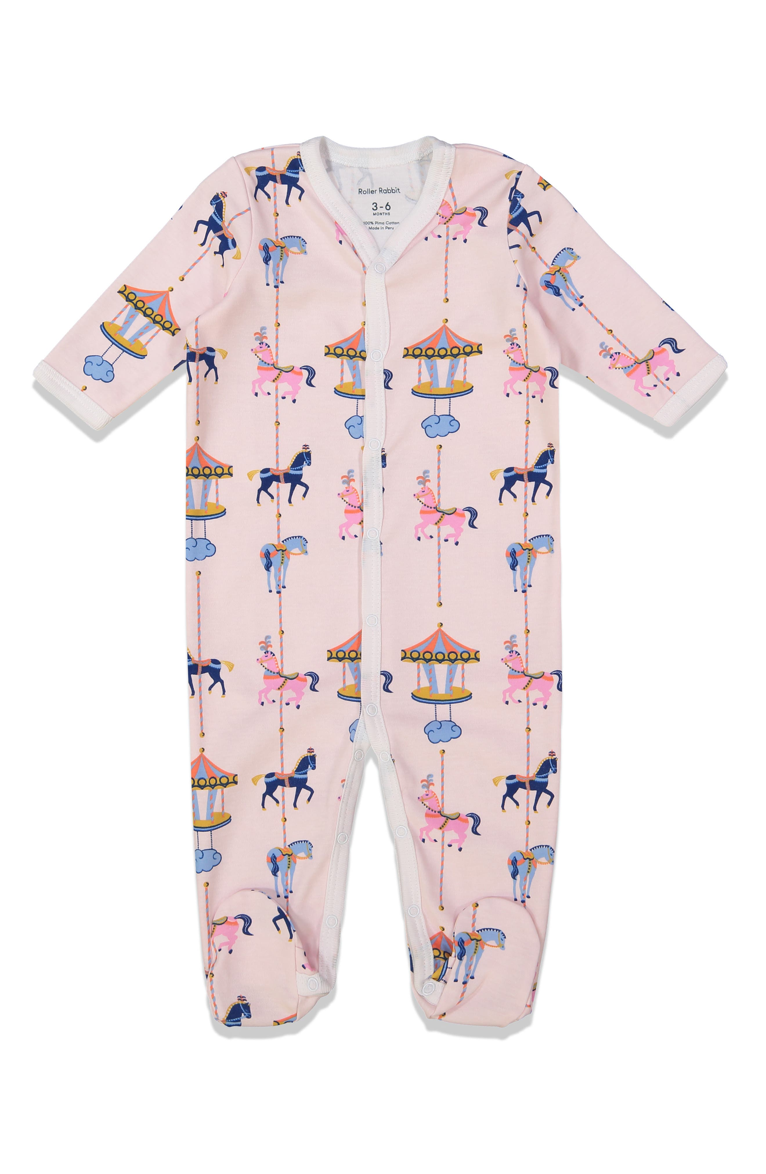 Infant Roller Rabbit Carousel Fitted One-Piece Footie Pajamas, Pink