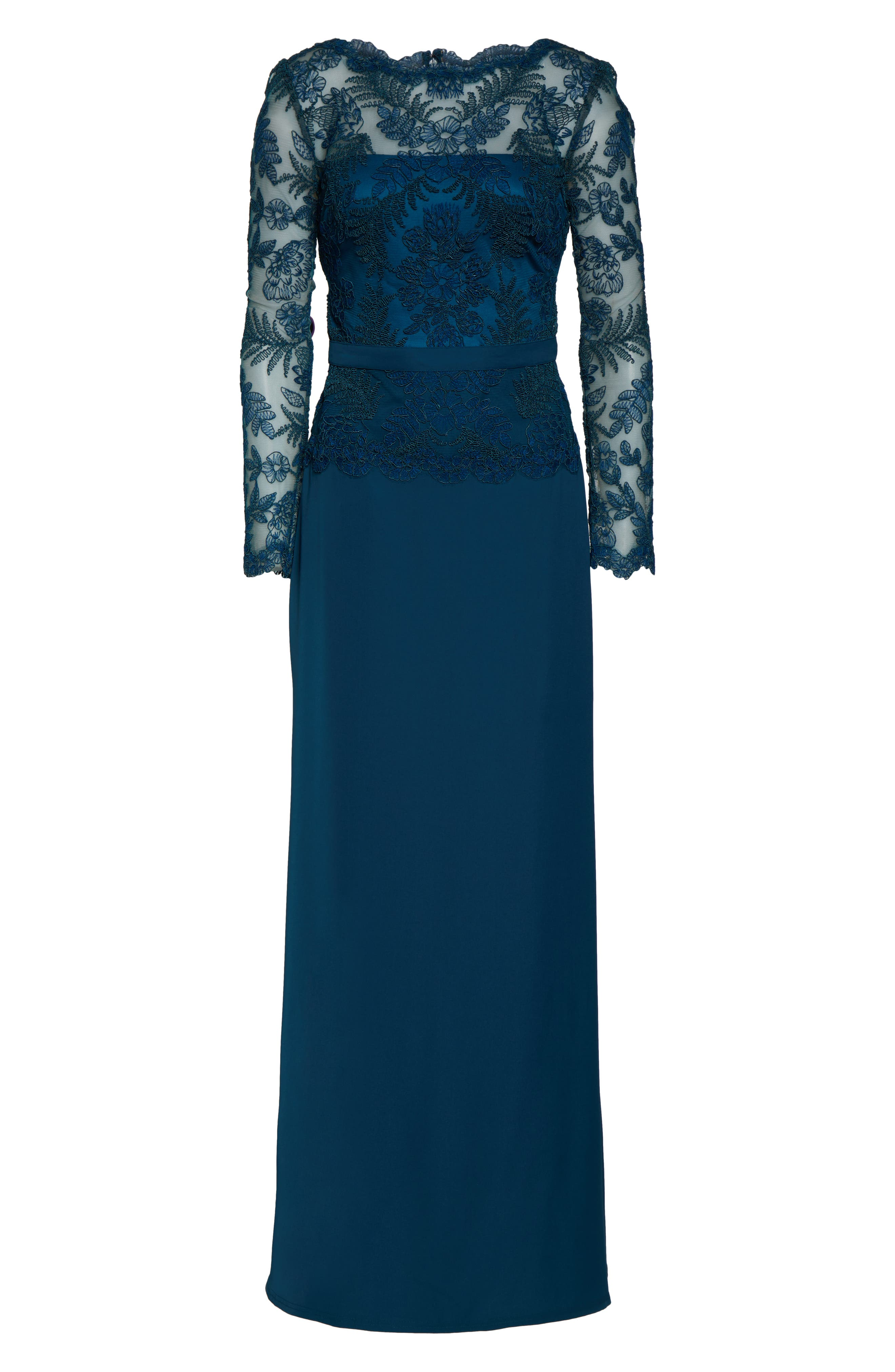 ,                             Lace & Crepe Long Sleeve Evening Gown,                             Alternate thumbnail 7, color,                             CERULEAN