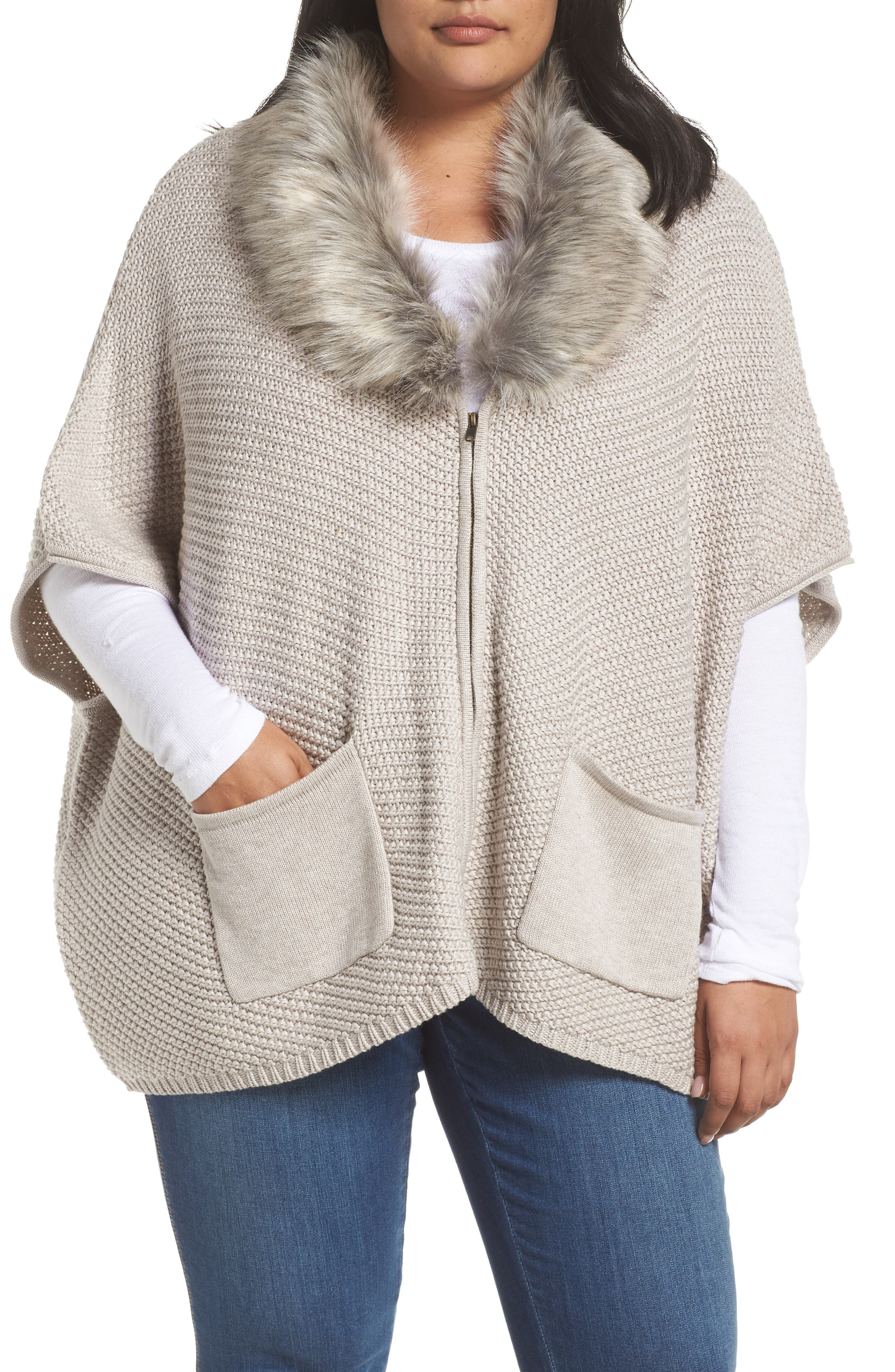 Carlie Faux Fur Collar Zip Cardigan