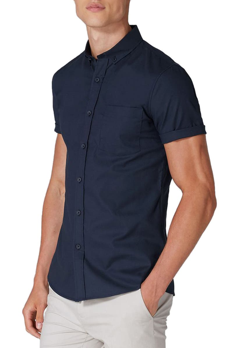 TOPMAN Muscle Fit Woven Shirt, Main, color, NAVY BLUE