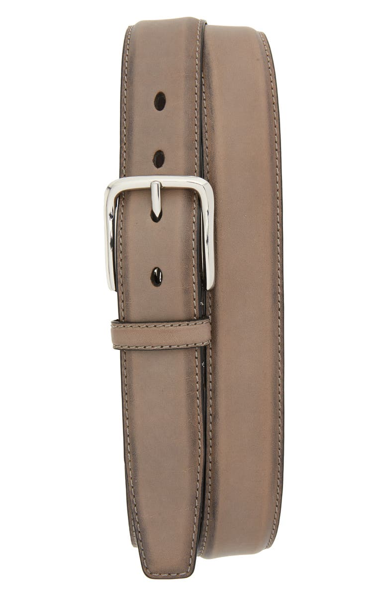 COLE HAAN Feather Edge Leather Belt, Main, color, IRONSTONE