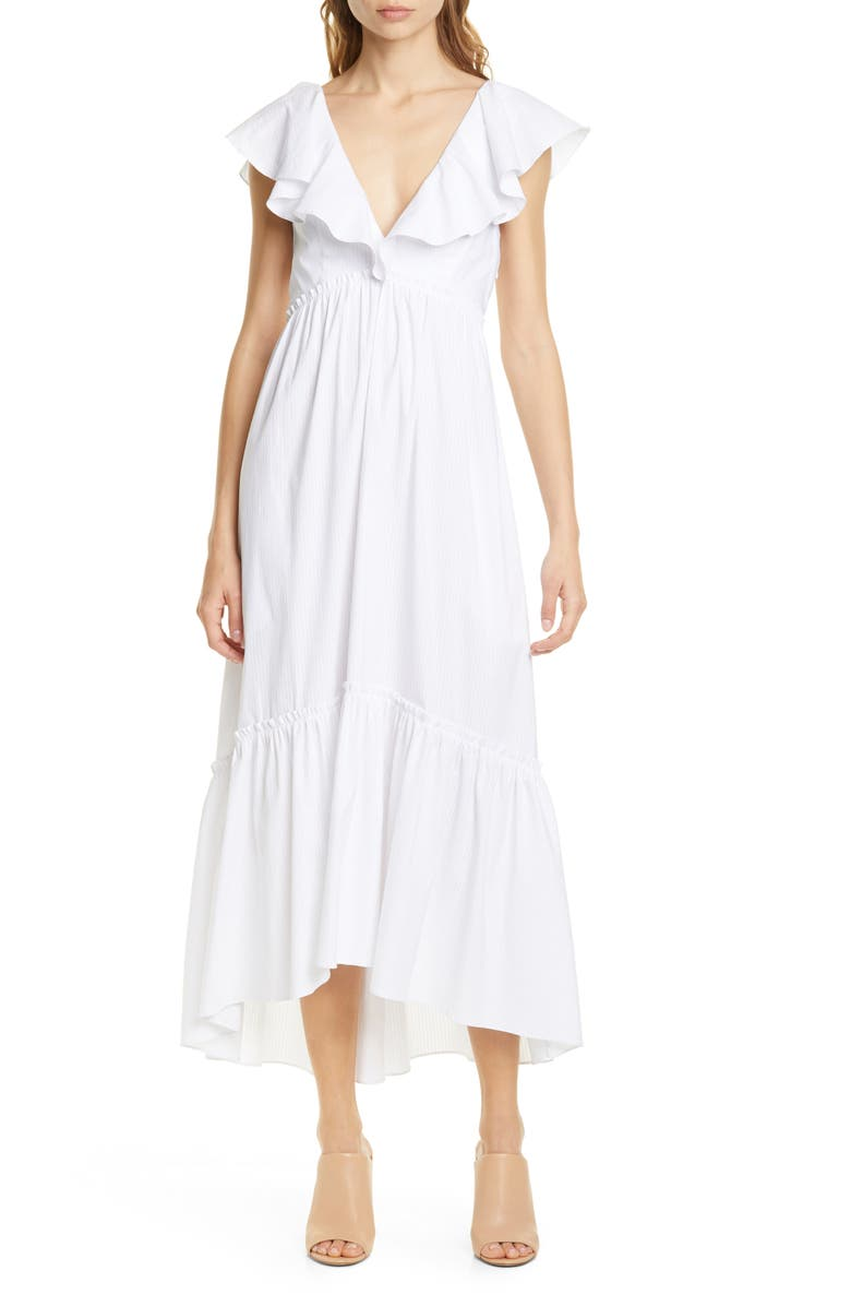 LA LIGNE D'été Tonal Pinstripe Flutter Sleeve Dress, Main, color, TONAL WHITE STRIPES