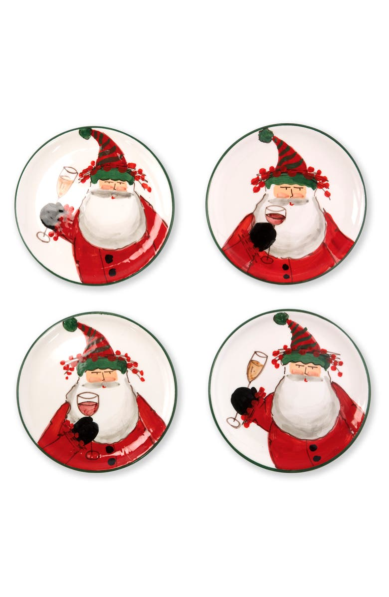VIETRI Old St. Nick Set of 4 Cocktail Plates, Main, color, HAND PAINTED