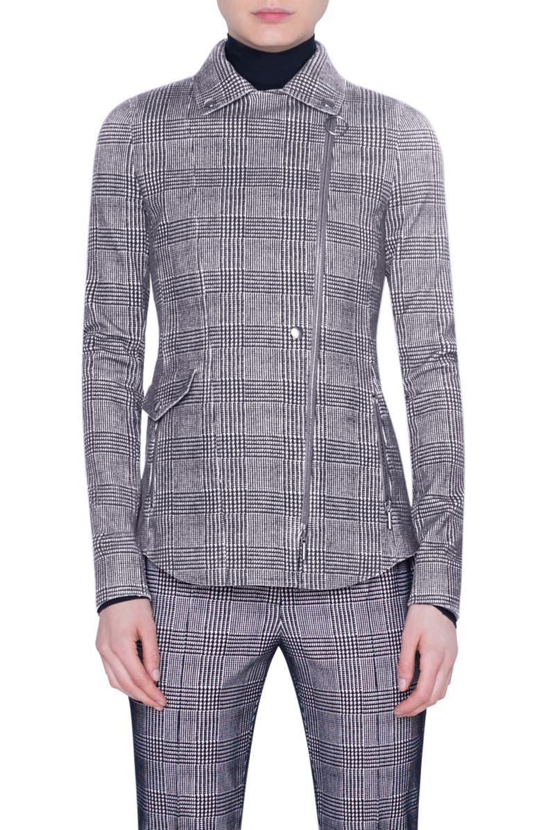 AKRIS PUNTO Glen Check Flocked Jersey Jacket, Main, color, BLACK OFFWHITE