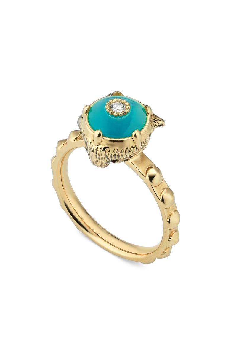 GUCCI Le Marché des Merveilles Feline Head Ring, Main, color, YELLOW GOLD/ TURQUOISE