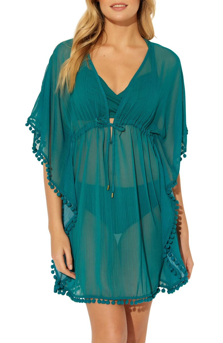 BLEU BY ROD BEATTIE Pom Trim Cover-Up Caftan, Main, color, TROPIC THUNDER