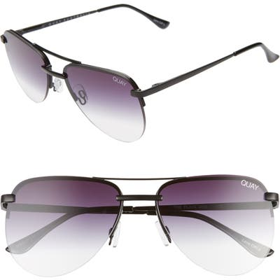Quay Australia The Playa Mini 5m Aviator Sunglasses - Black/ Fade