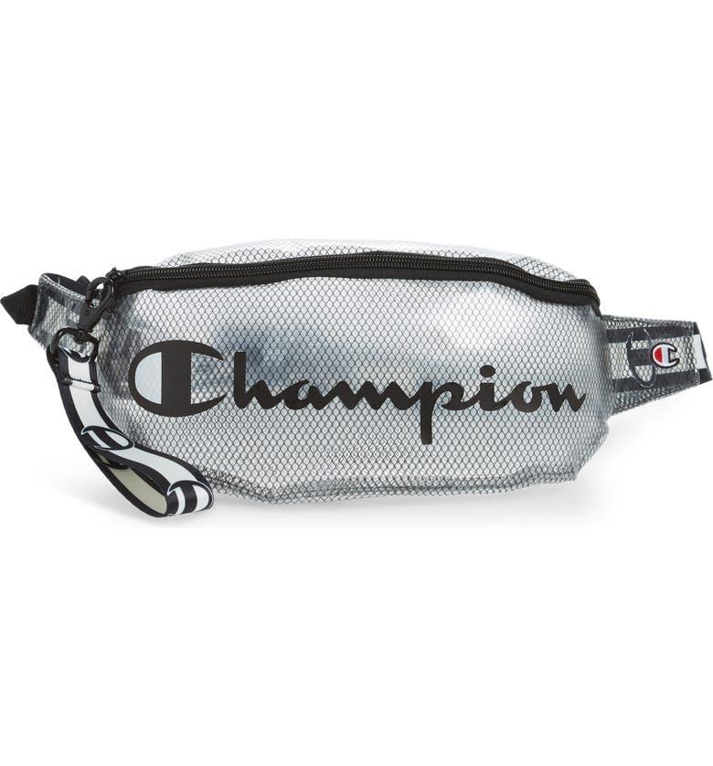 CHAMPION Prime Logo Clear Belt Bag, Main, color, 001