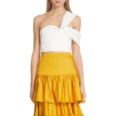 Amur Marty Stretch Organic Cotton One-Shoulder Bustier Top, White