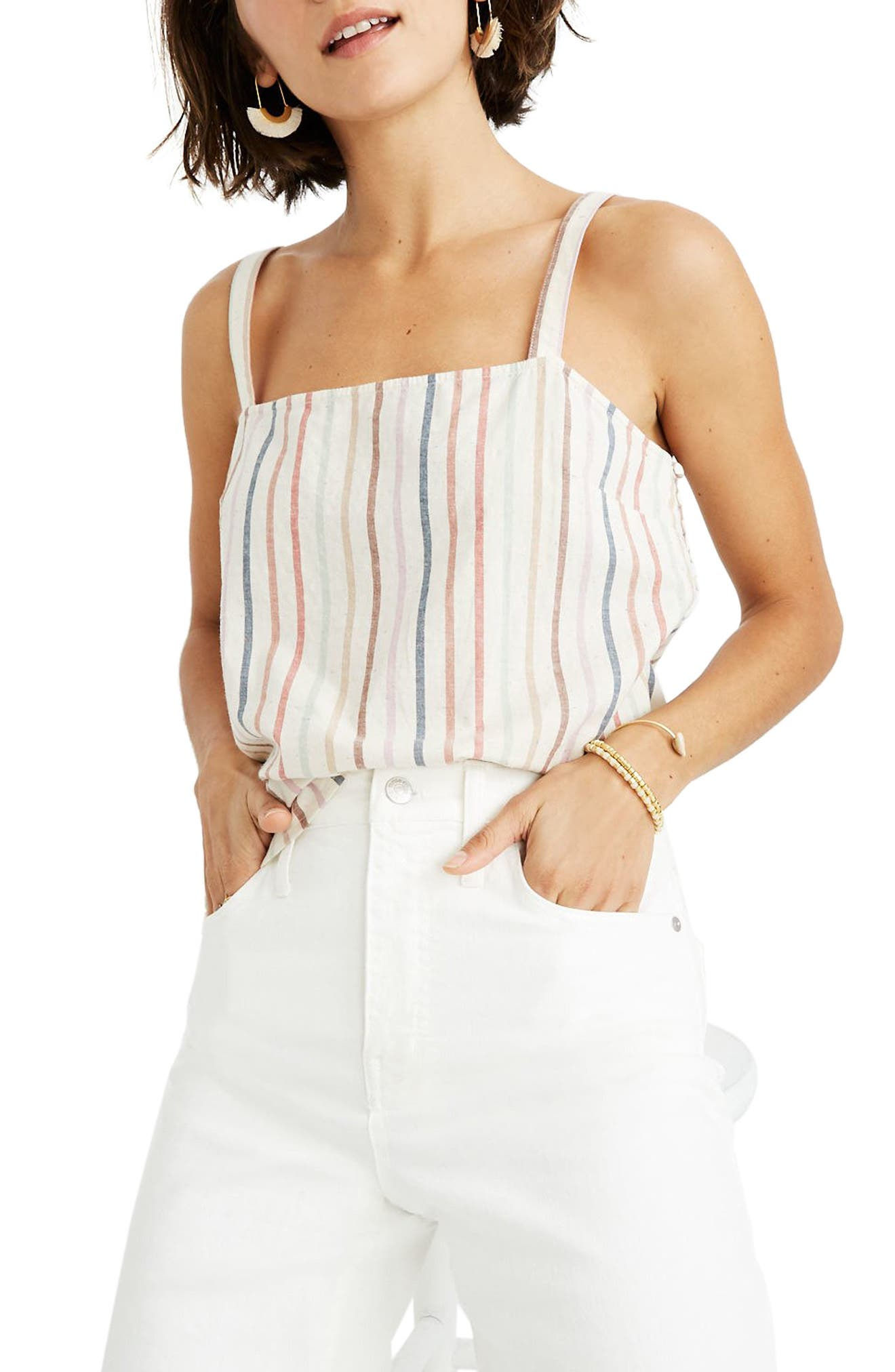 Madewell Flecked Rainbow Stripe Side Button Camisole, Ivory