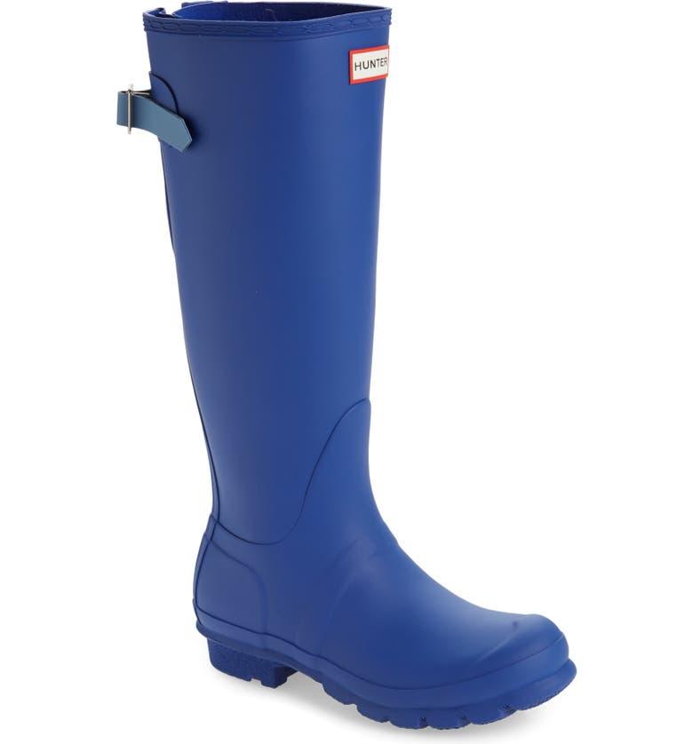 HUNTER Original Tall Adjustable Back Waterproof Rain Boot, Main, color, CUTTLE BLUE