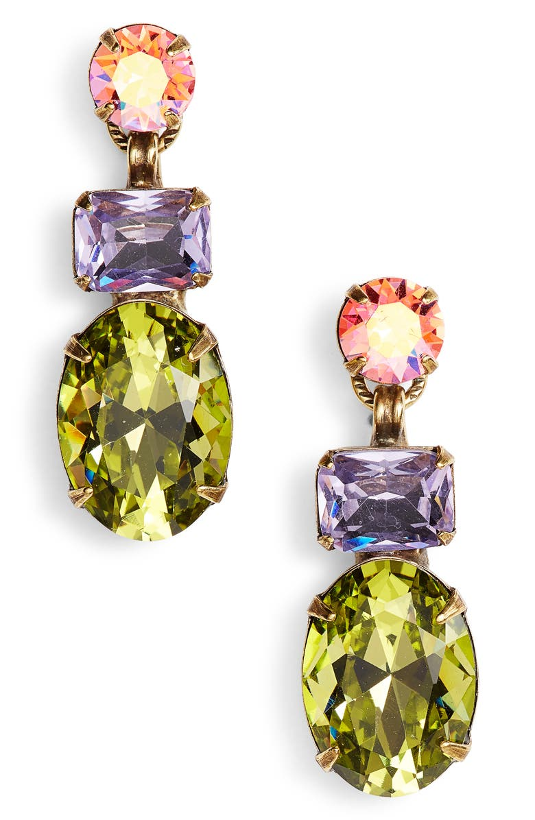 SORRELLI Forget Me Not Crystal Drop Earrings, Main, color, GOLD MULTI