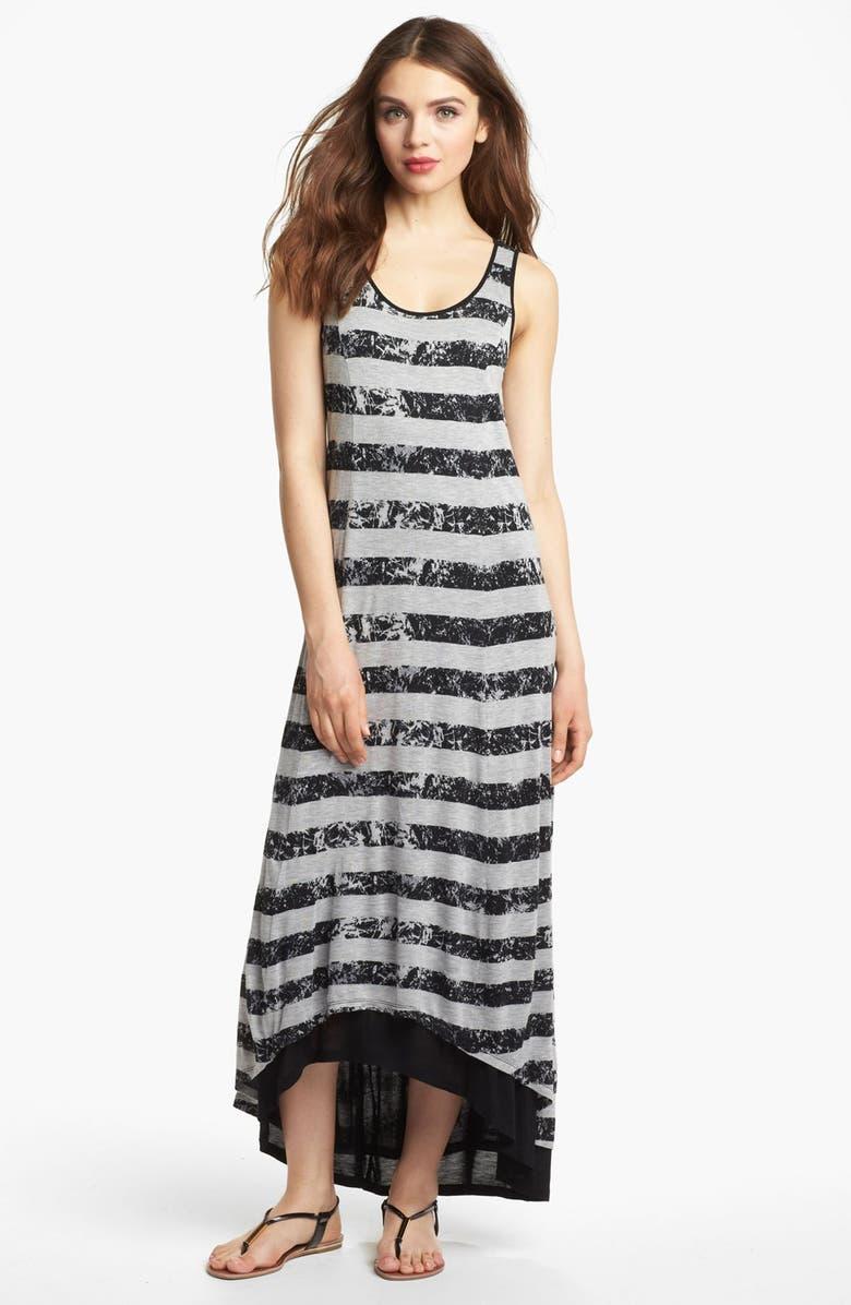 KENSIE Crackled Stripe Maxi Dress, Main, color, 001