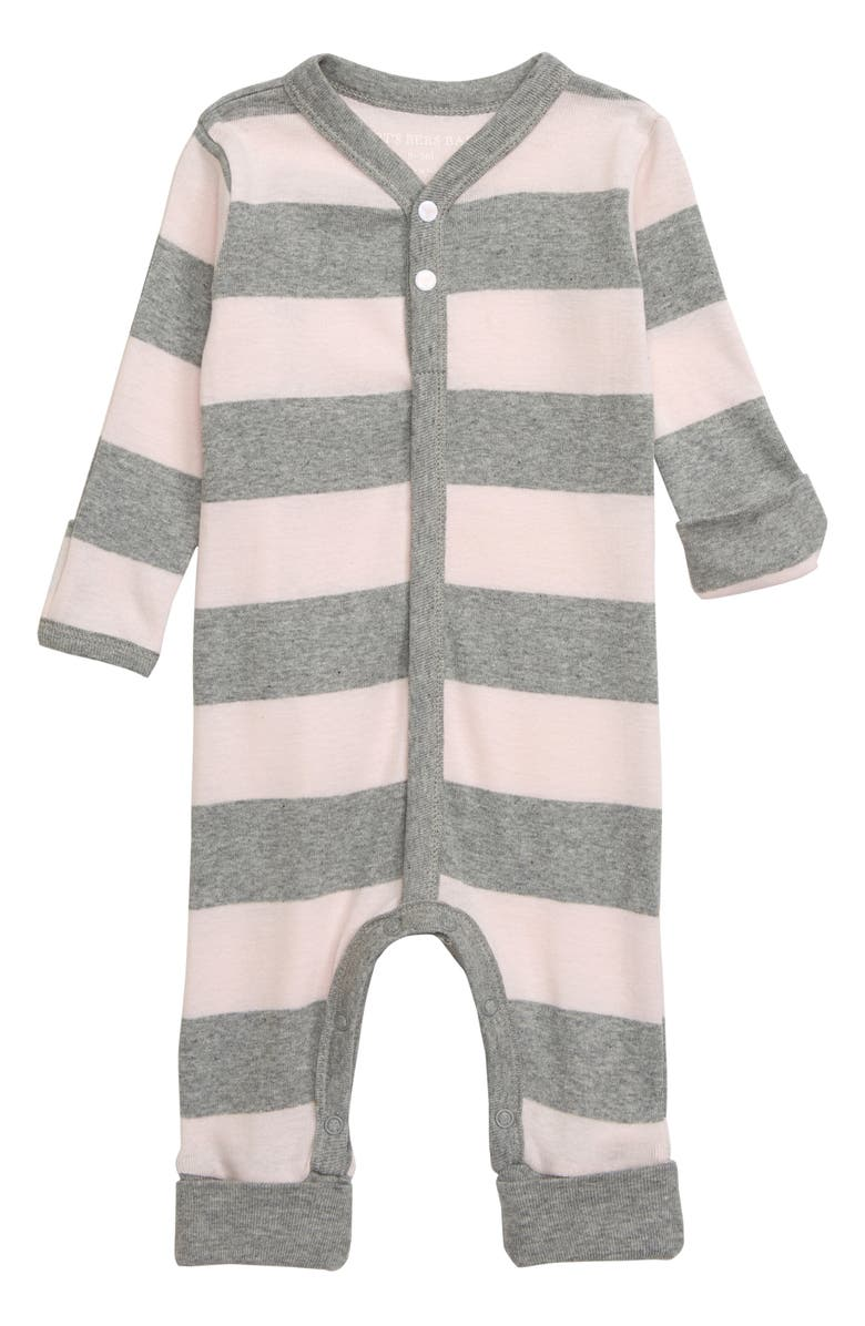 BURT'S BEES BABY Rugby Stripe Organic Cotton Romper, Main, color, BLOSSOM