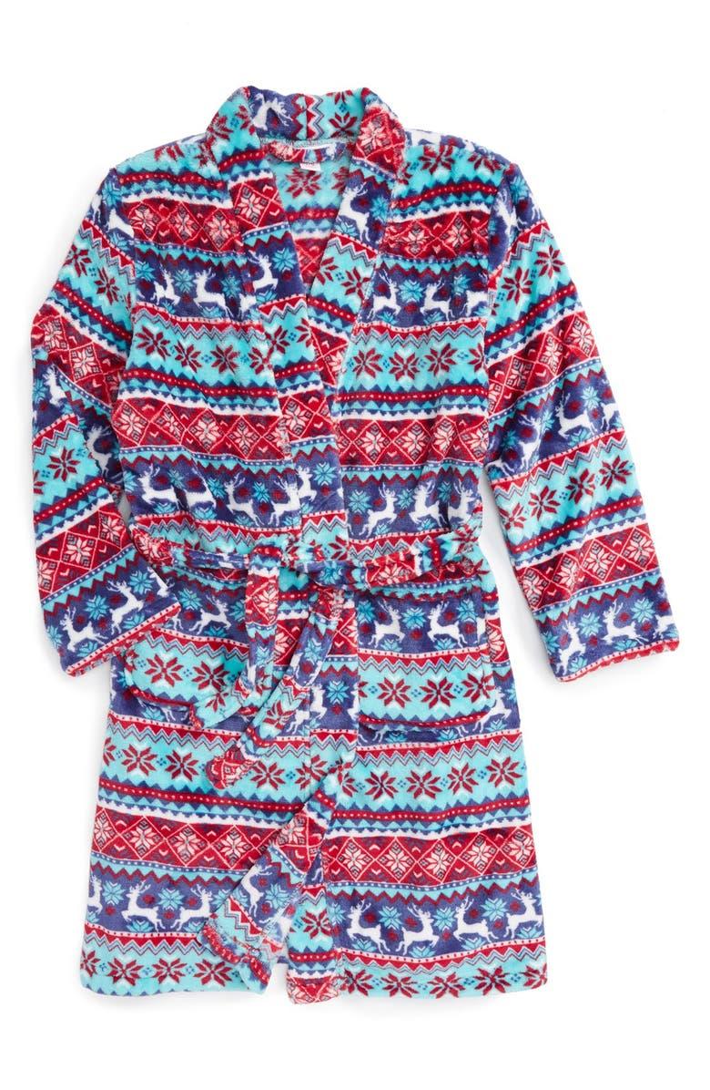 CANDY PINK Holiday Print Robe, Main, color, 600