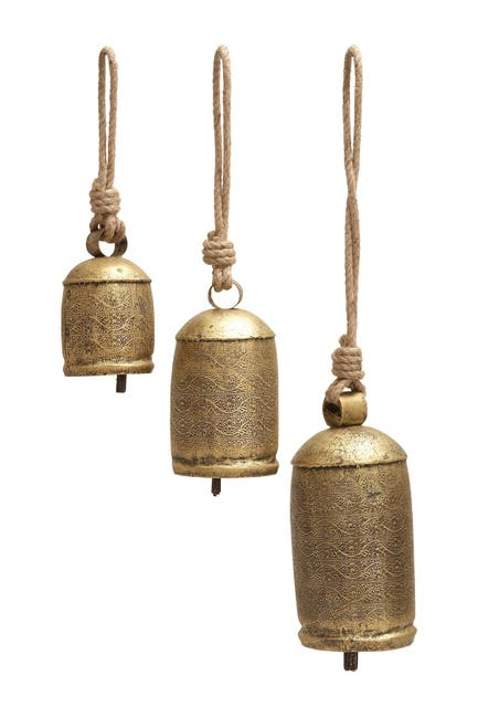 Image of Willow Row Gold Brass Cow Bell Wind Chimes - Set of 3