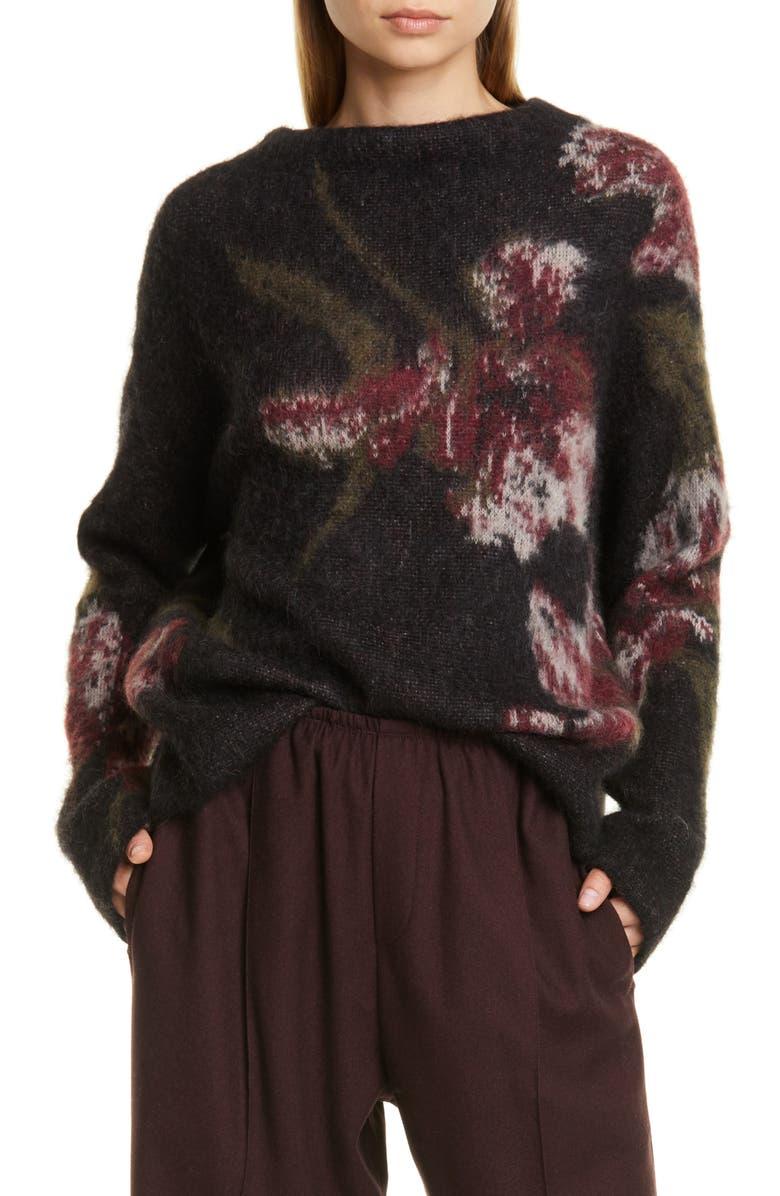 VINCE Floral Funnel Neck Brushed Mohair Blend Sweater, Main, color, BLACK/ DAHLIA WINE