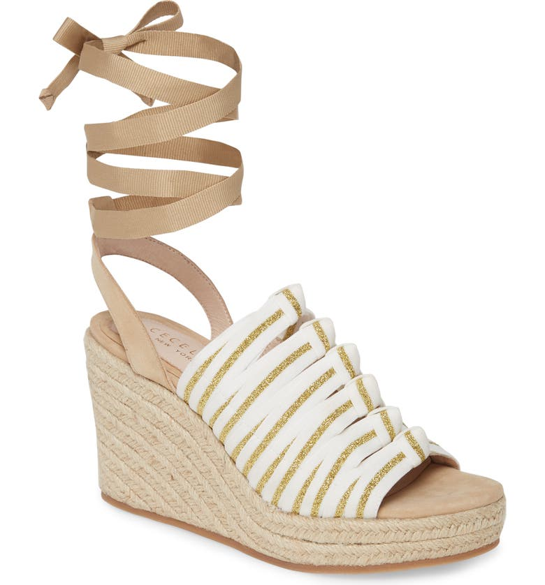 CECELIA NEW YORK Espadrille Wedge, Main, color, WHITE GOLF TAN FABRIC