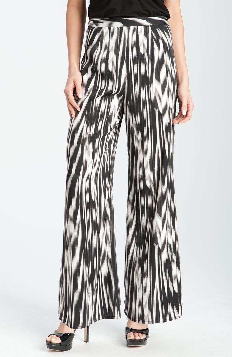 VINCE CAMUTO Abstract Print Wide Leg Pants, Main, color, RICH BLACK