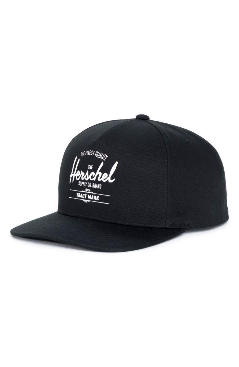 HERSCHEL SUPPLY CO. Whaler Snapback Baseball Cap, Main, color, BLACK