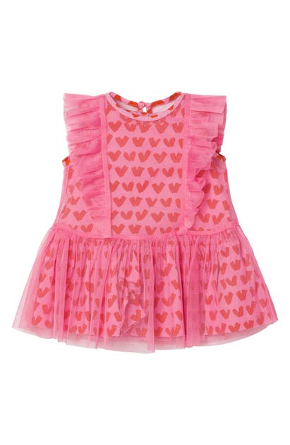Stella Mccartney HEARTS DRESS WITH REMOVABLE TULLE OVERLAY