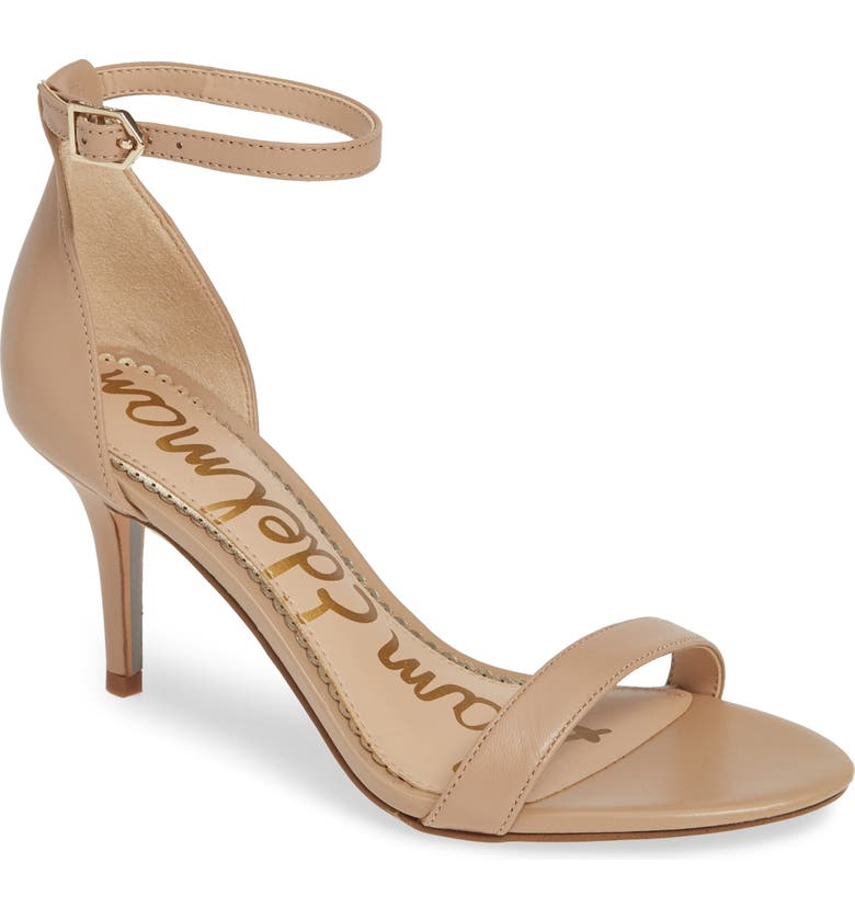 SAM EDELMAN 'Patti' Ankle Strap Sandal, Main, color, CLASSIC NUDE LEATHER