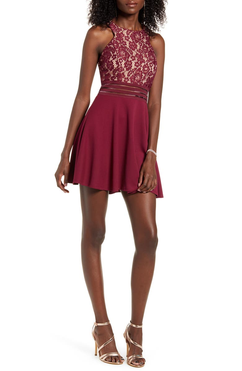 SPEECHLESS Illusion Detail Cutout Skater Dress, Main, color, WINE NUDE