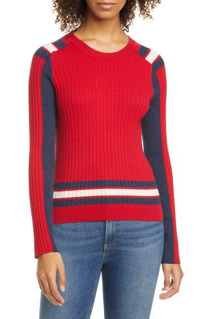 Rag & Bone Sweaters JULEE RIBBED COLORBLOCK MERINO WOOL & COTTON SWEATER