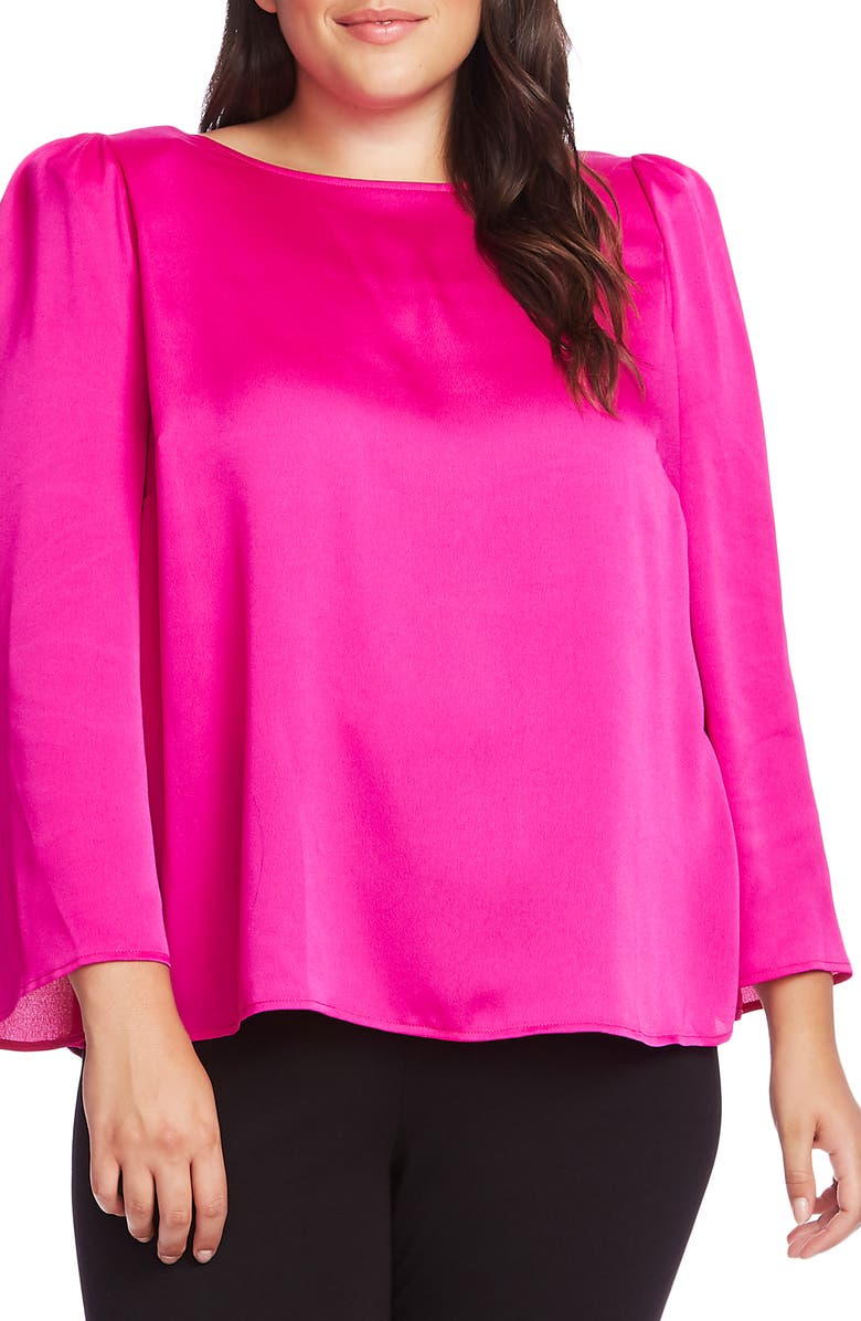 VINCE CAMUTO Hammered Satin Blouse, Main, color, 678-PINK SHOCK